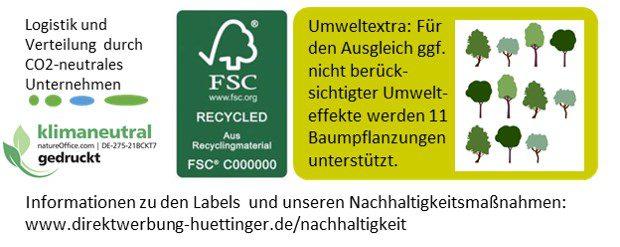 Label für nachhaltige Werbemaßnahme